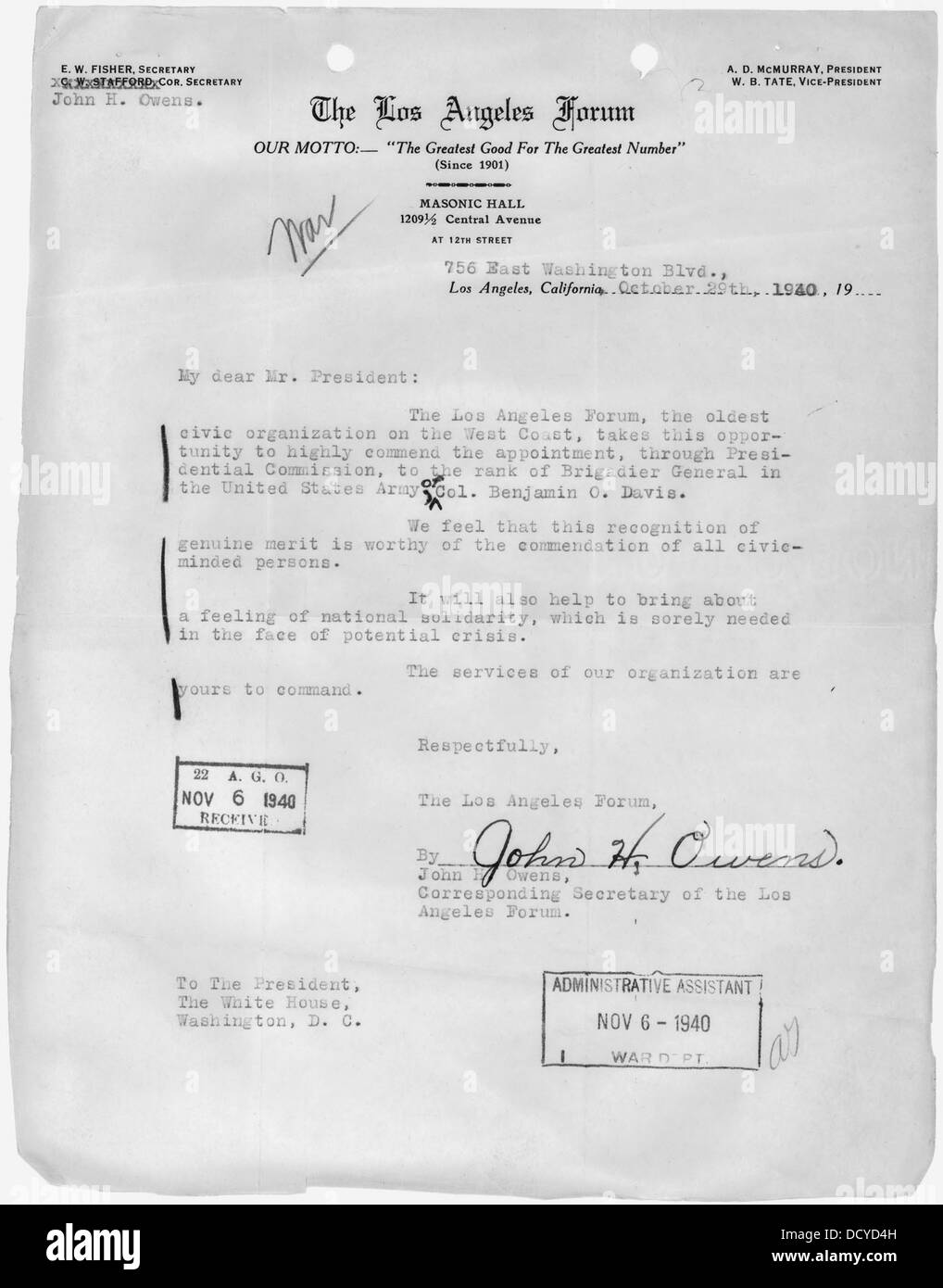 Letter from John H. Owens of Los Angeles, California, Corresponding Secretary of the Los Angeles Forum, to the... - Stock Image