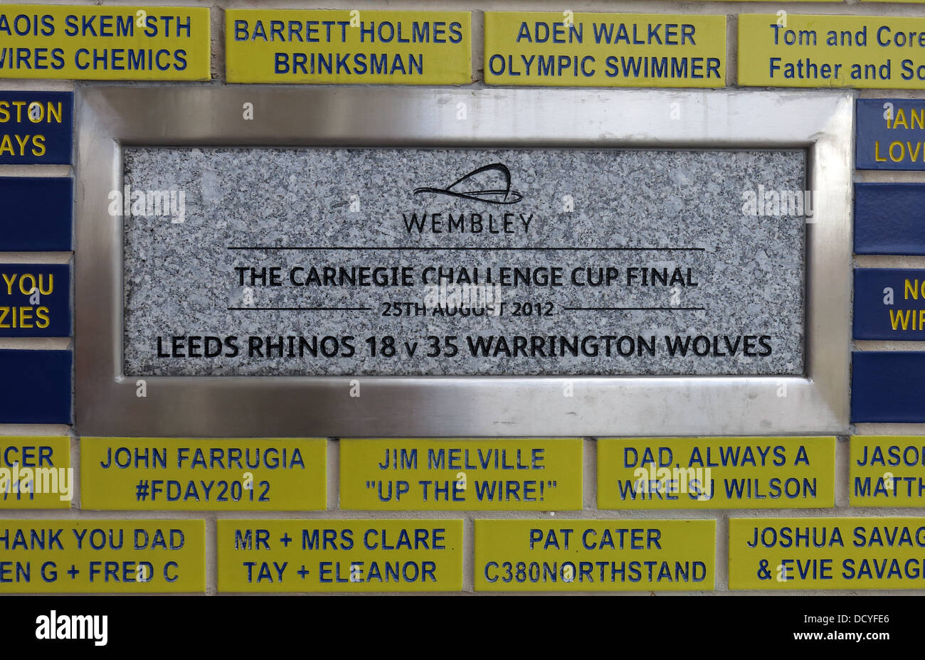 Carnegie Challenge Cup Final plaque at Halliwell Jones stadium, Mike Gregory Way / Winwick Rd, Warrington, WA2 7NE - Stock Image