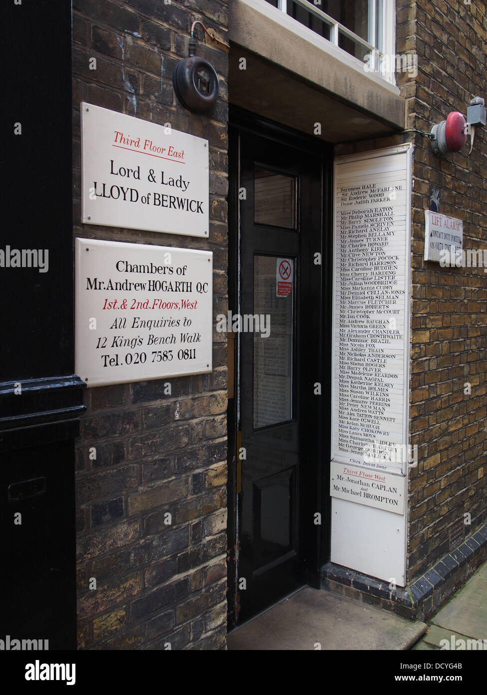 Entrance to lawyers' offices with names, Middle Temple, London - Stock Image