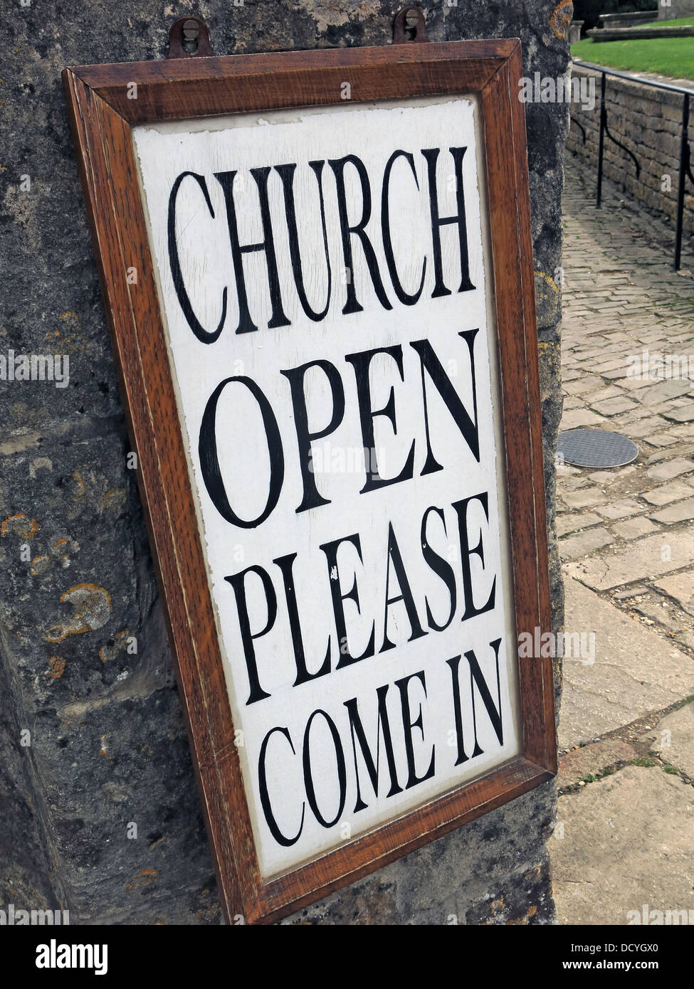 Church Open Sign, Please Come In - Stock Image