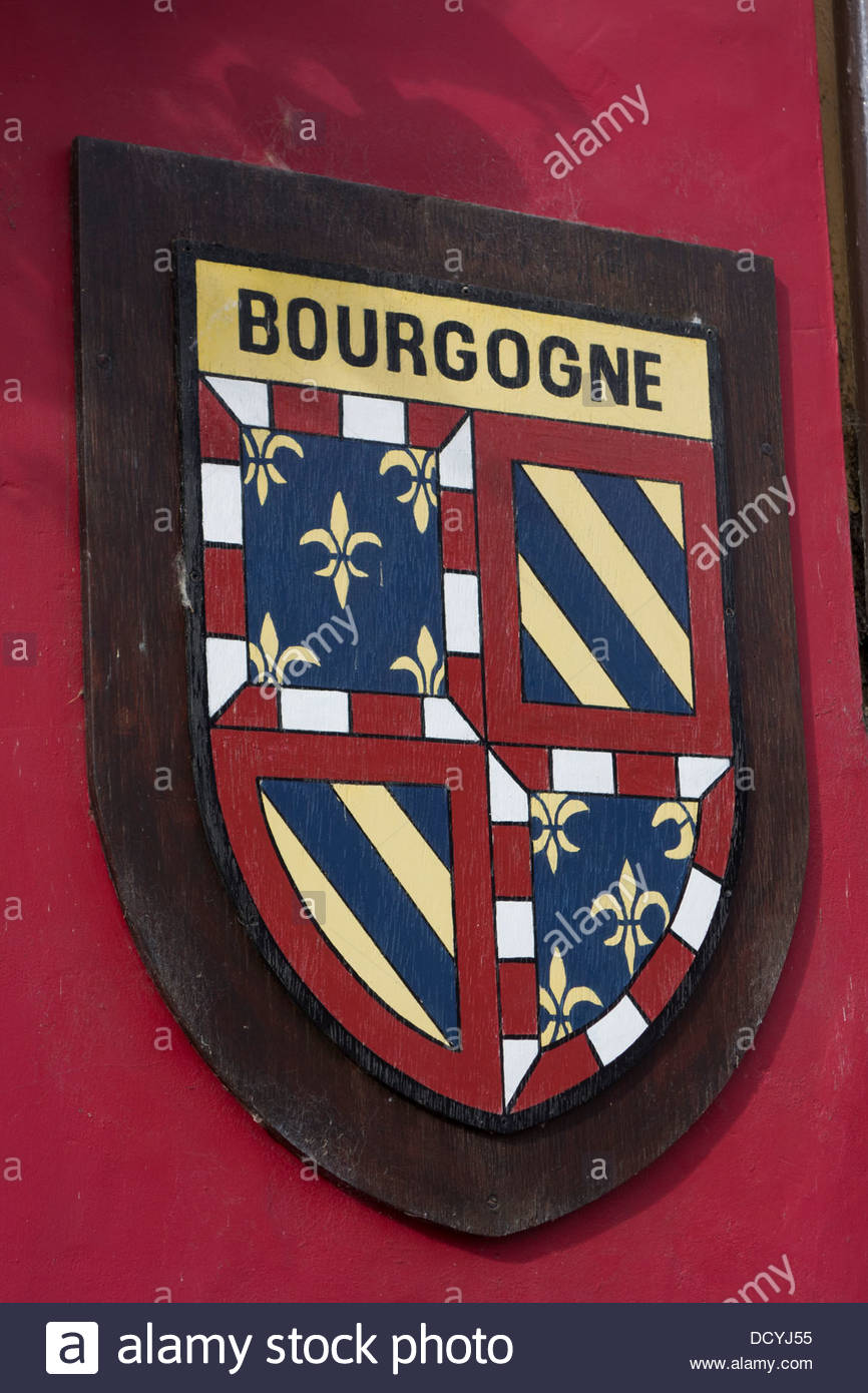 Bourgogne shield on a French restaurant, La Cote D'Or, in Kimbolton, Cambridgeshire. - Stock Image