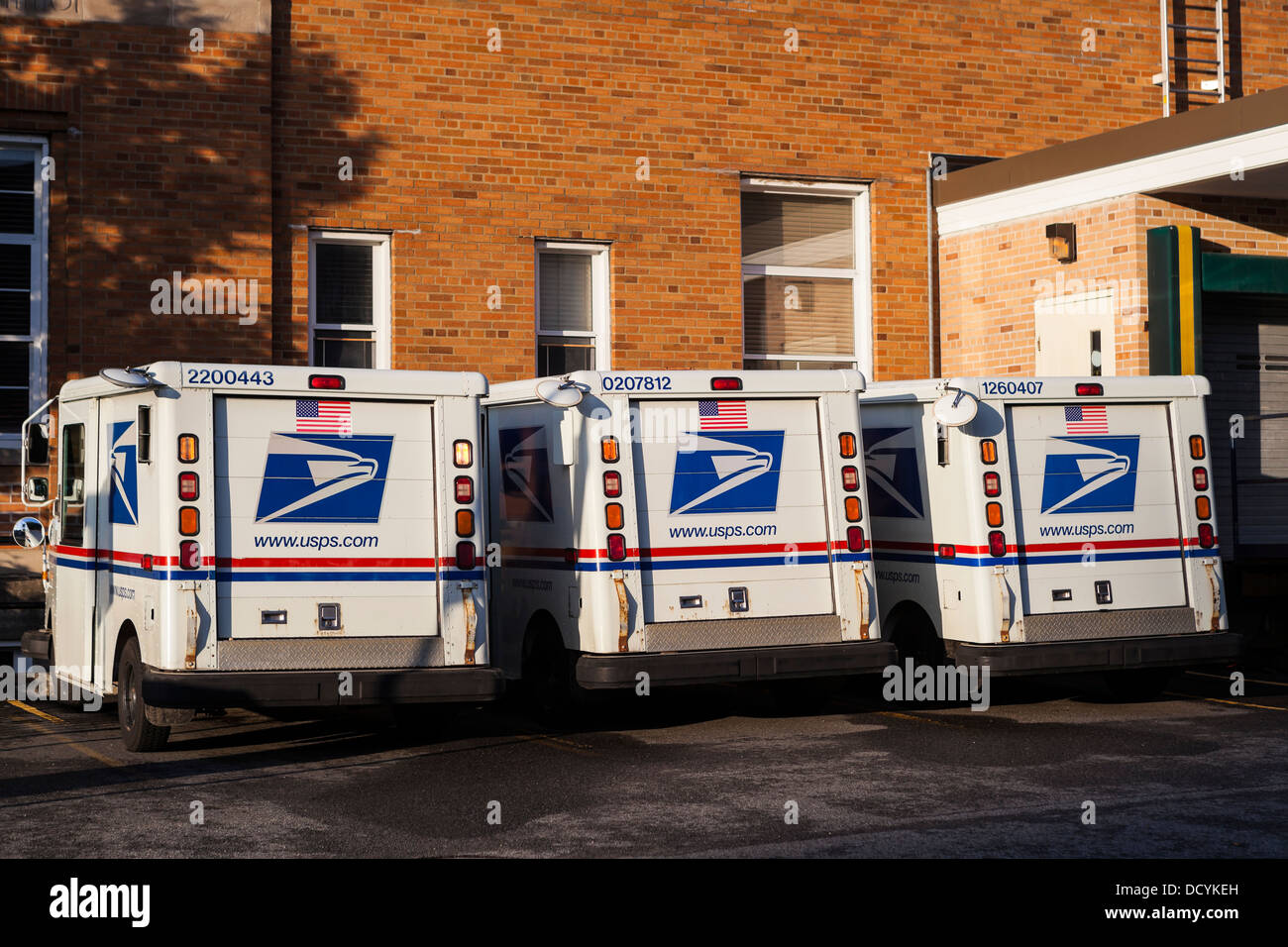 United States Postal Service trucks, USPS - Stock Image