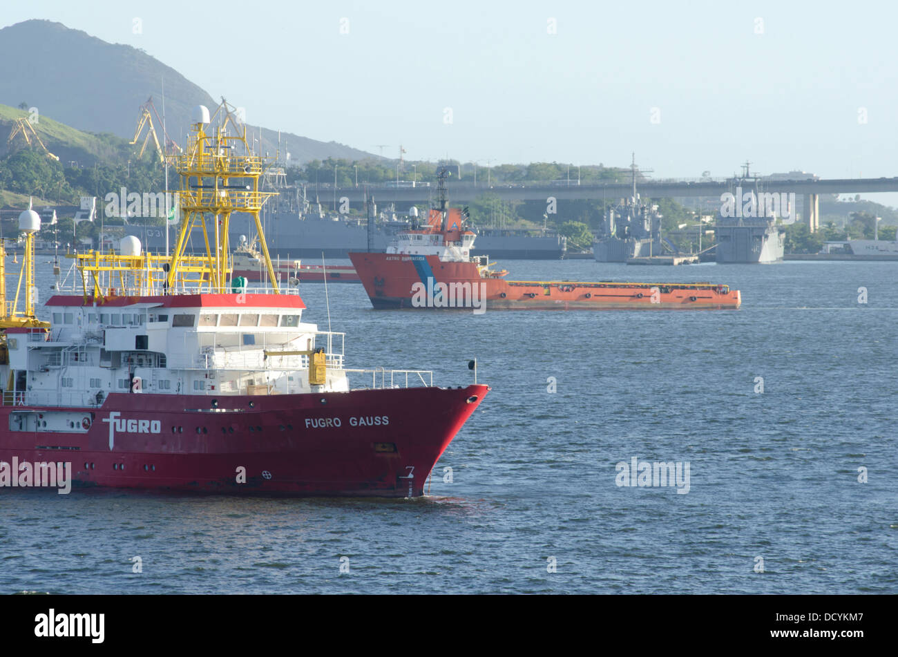 Fugro Gauss survey vessel, anchored at guanabara bay, rio de janeiro, brazil - Stock Image