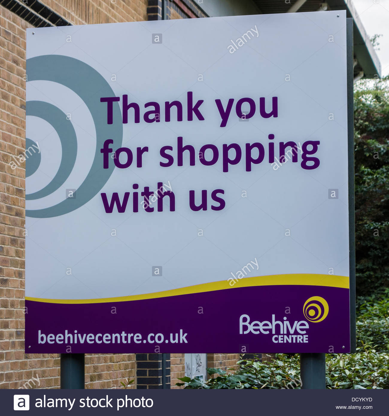 Thank you for shopping with us sign at the Beehive Centre in Cambridge - Stock Image