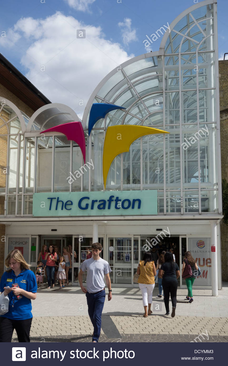 Entrance to the Grafton Centre off Burleigh Street and Fitzroy Sreet in Cambridge - Stock Image