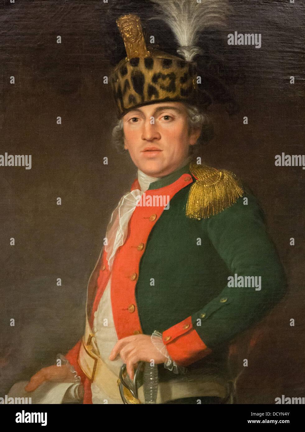 18th century - Monsieur de Roque, Major to the regiment of infantry of Condé - Anonymous (1779) - Musée - Stock Image