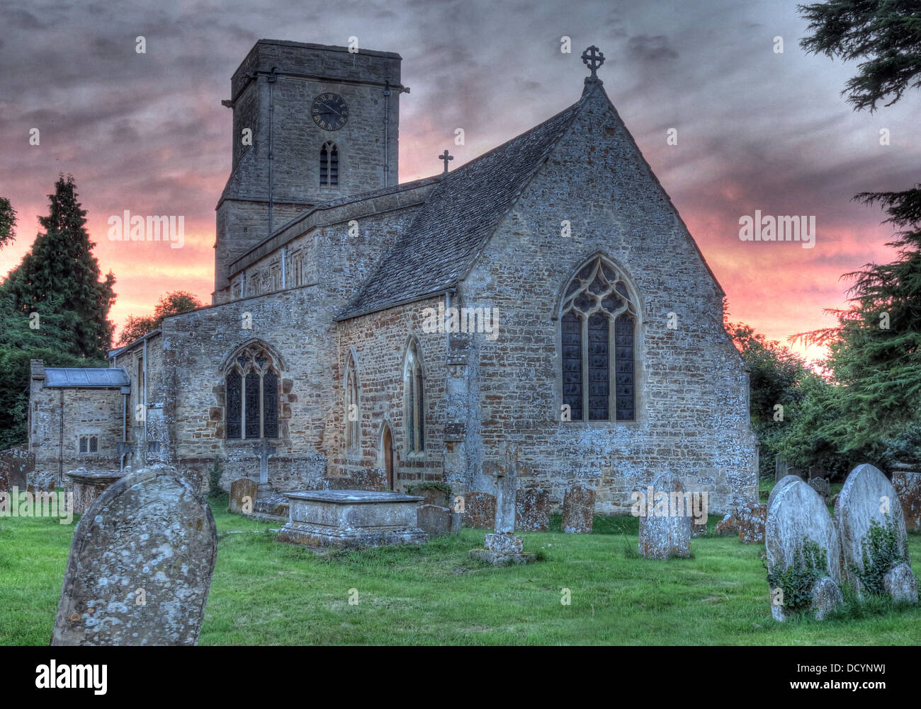 St Mary Church, Lower Heyford at sunset, Oxfordshire, England, UK - Stock Image