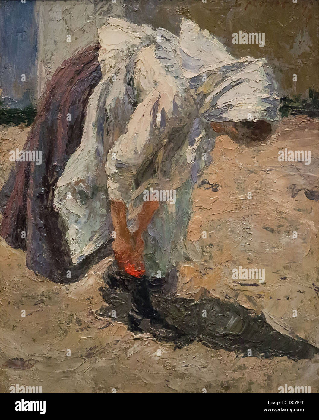 19th century  -  Young peasant lacing her shoe - Matej Sternen (1899) oil on canvas - Stock Image