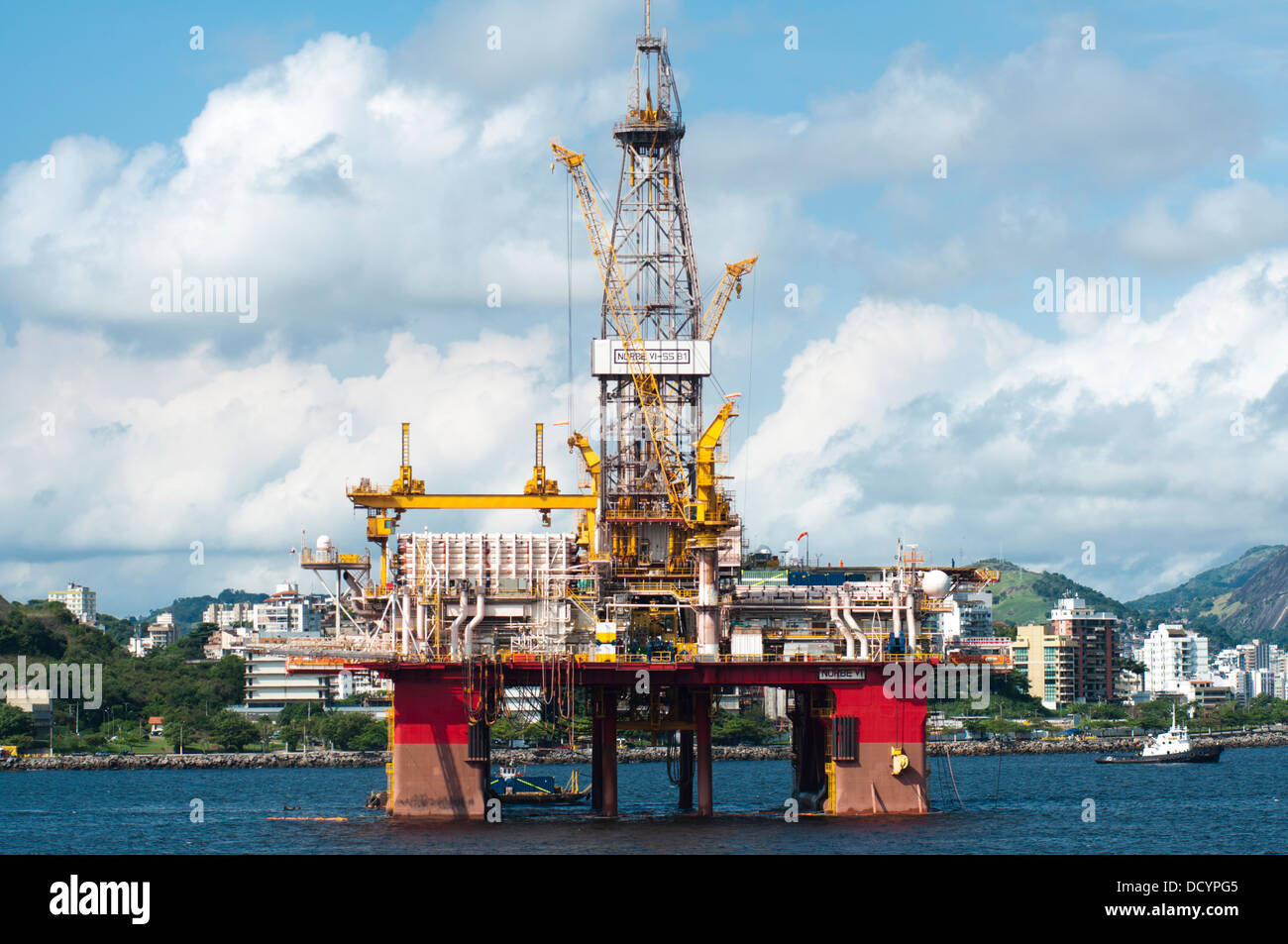 odebecht oil drilling rig anchored at guanabara bay rio de janeiro