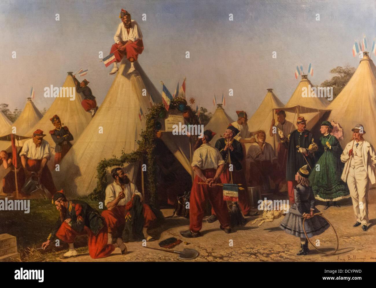 Fire Infantry August 15, 1866 - Eugene Bellangé - musée de l'armée - Paris  Philippe Sauvan-Magnet - Stock Image