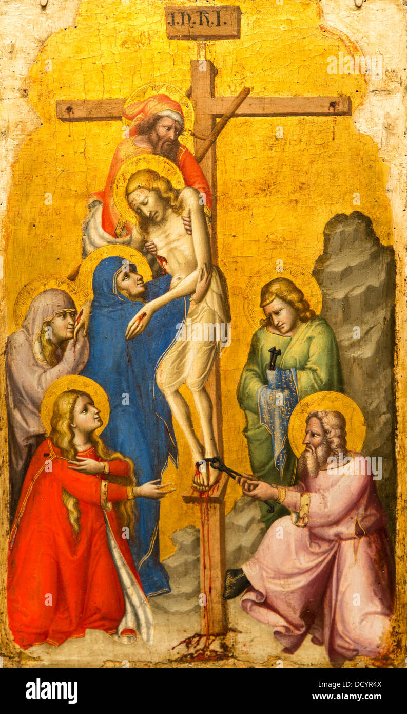 14th century  -  The Descent from the Cross - Pseudo-Dalmasio (1330) Tempera on wood, gold ground - Stock Image