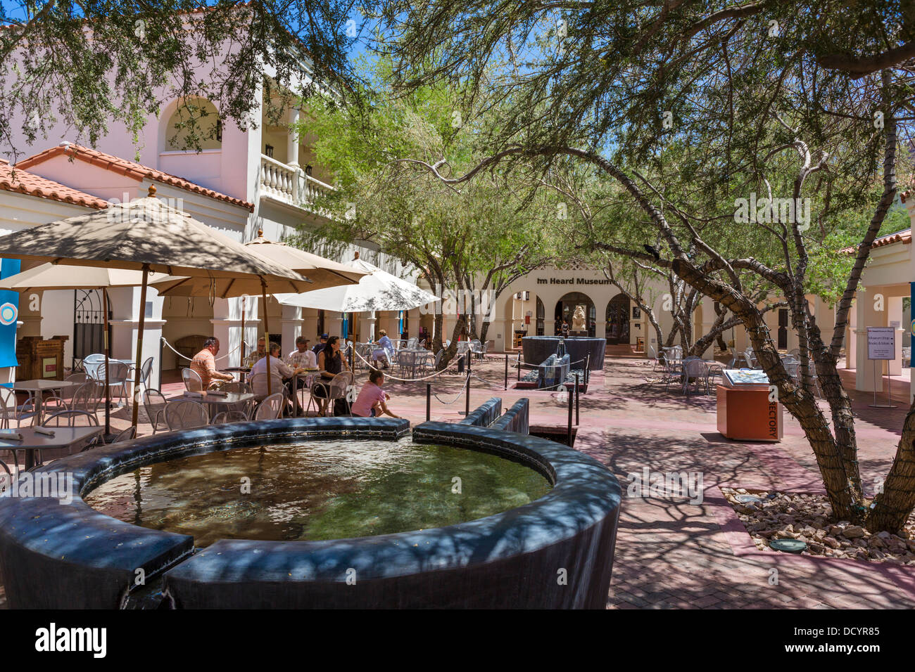 Cafe in the courtyard at The Heard Museum of Native Cultures and Art, Phoenix, Arizona, USA - Stock Image