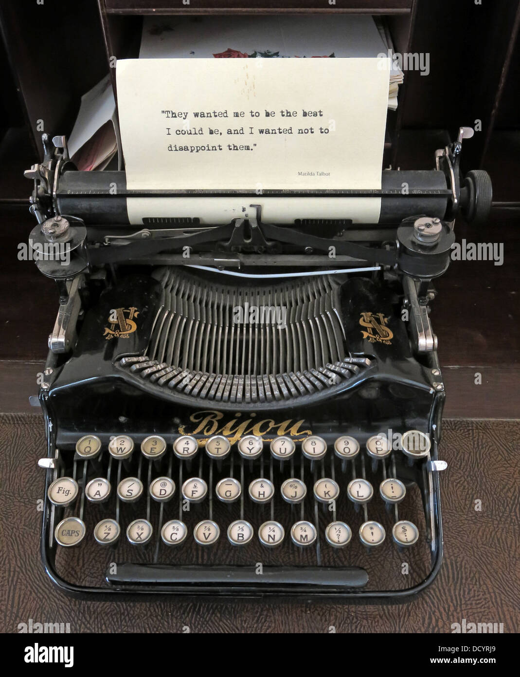 'They wanted me to be the best I could be, and I wanted not to disappoint them' on a old Byou Typewriter, - Stock Image