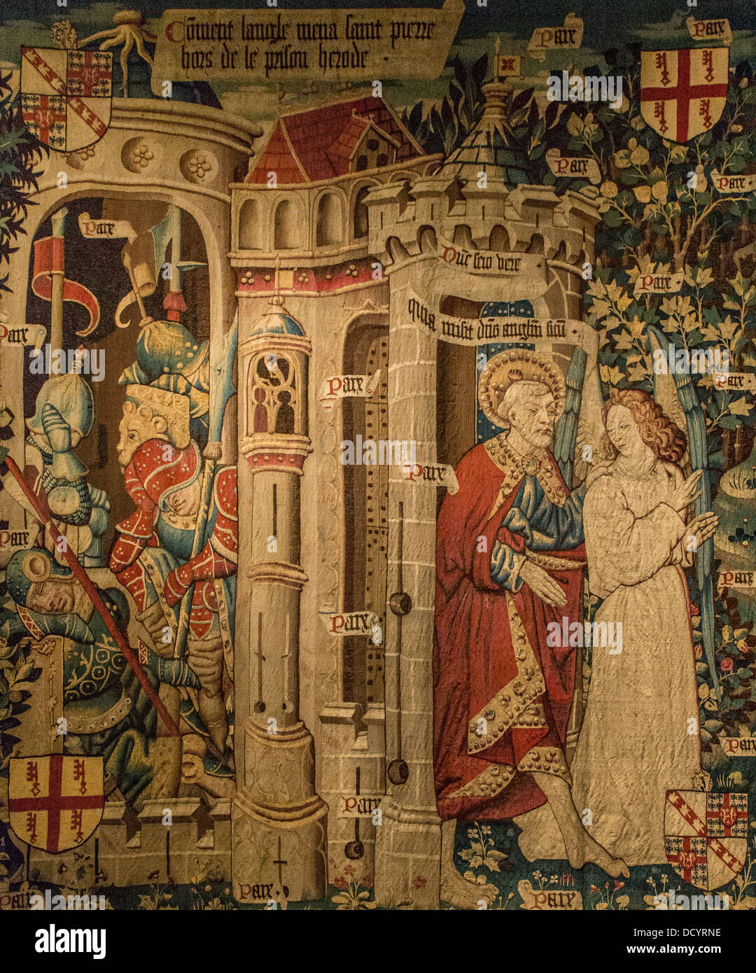 15th century  -  Liberation of St Peter - Jacques Daret 1460 Tapestry - Museée de Cluny - Paris - France - Stock Image
