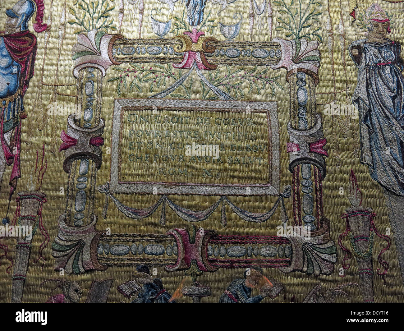 Ecclesiastical Tapestry from Waddesdon Manor NT, bucks England, UK - Stock Image