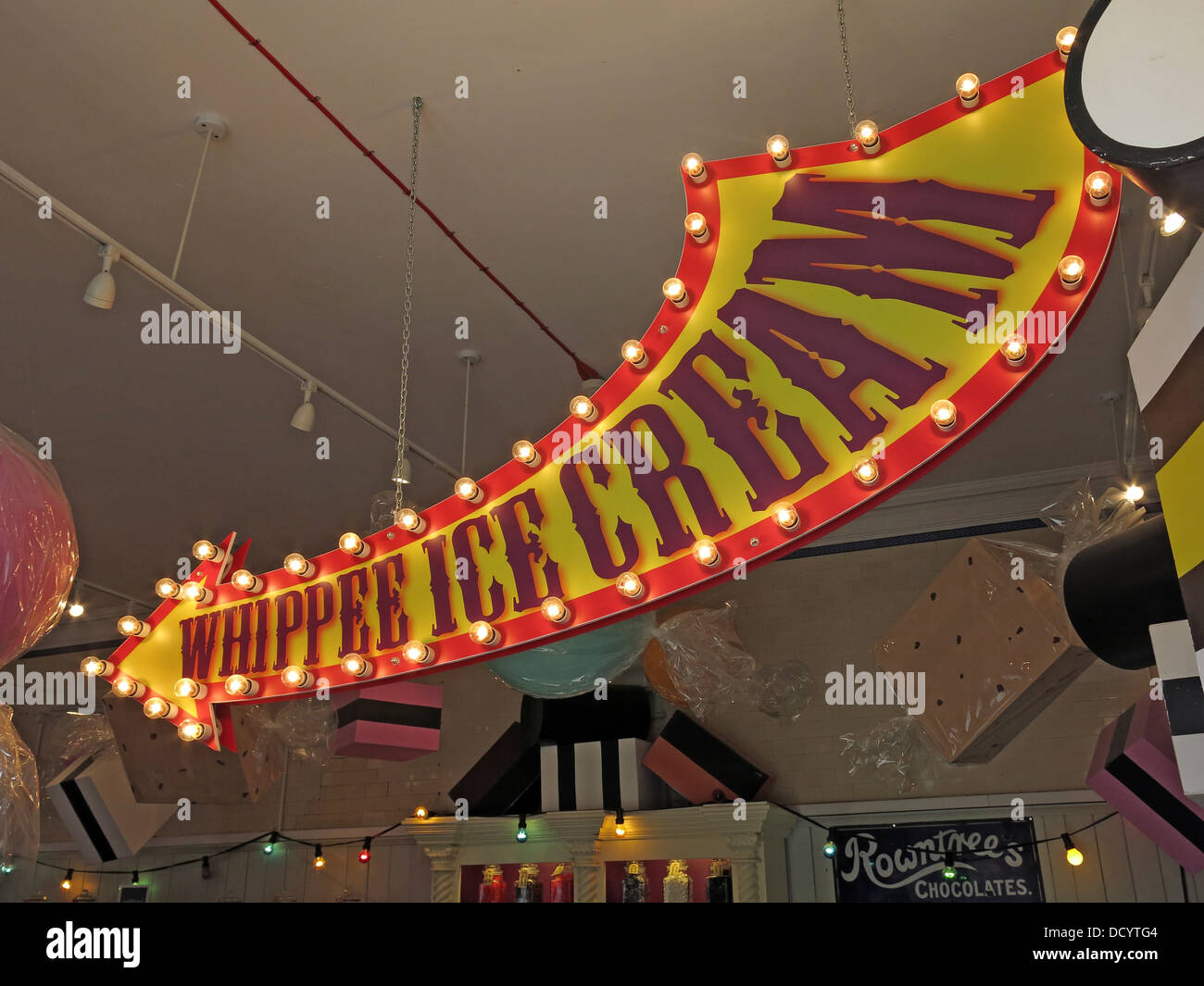 Mr Whippee Ice Cream sign, inside a cafe - Stock Image