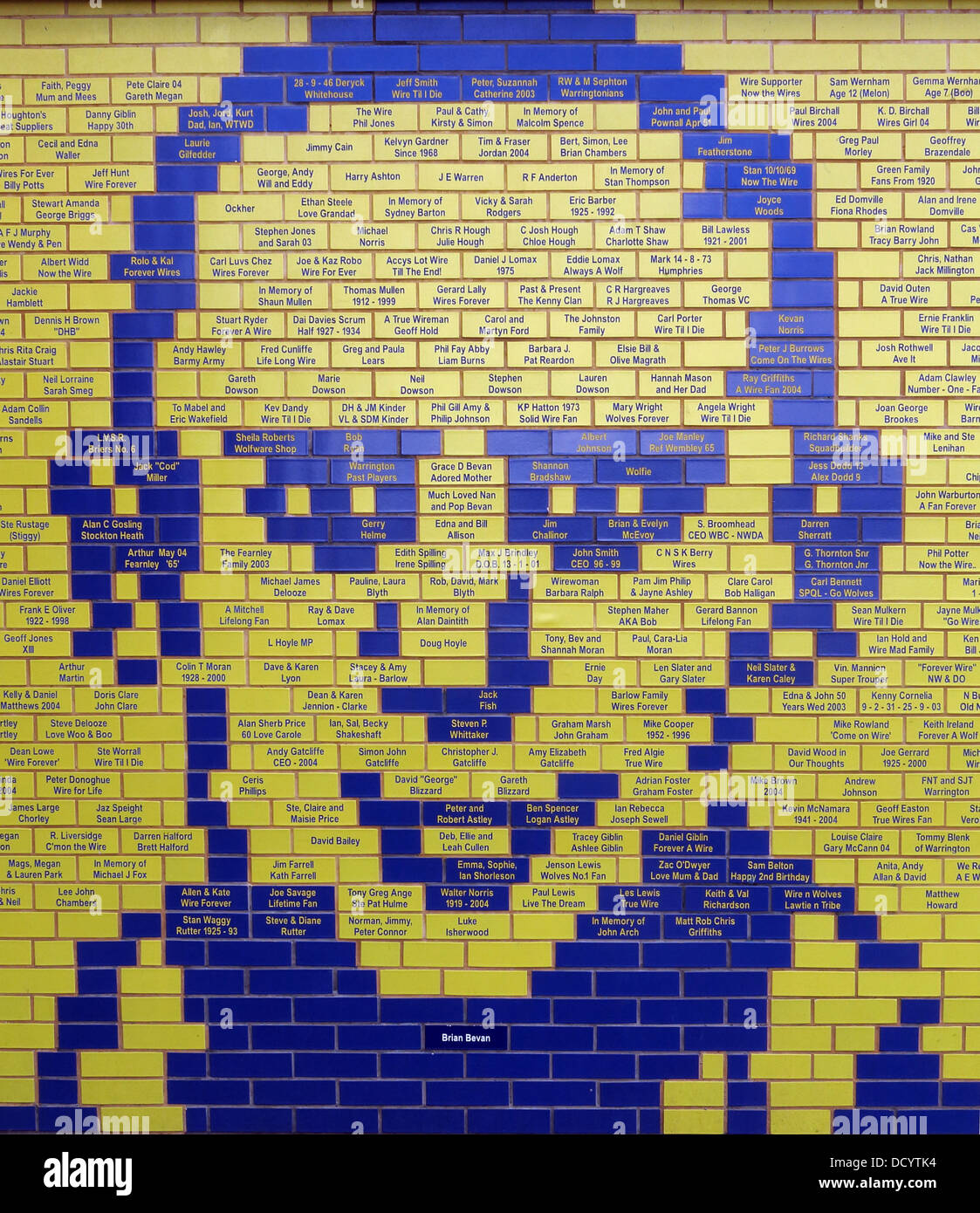 Bricks forming face of Brian Bevan at Warrington Wolves Rugby Stadium, Cheshire England UK - Stock Image