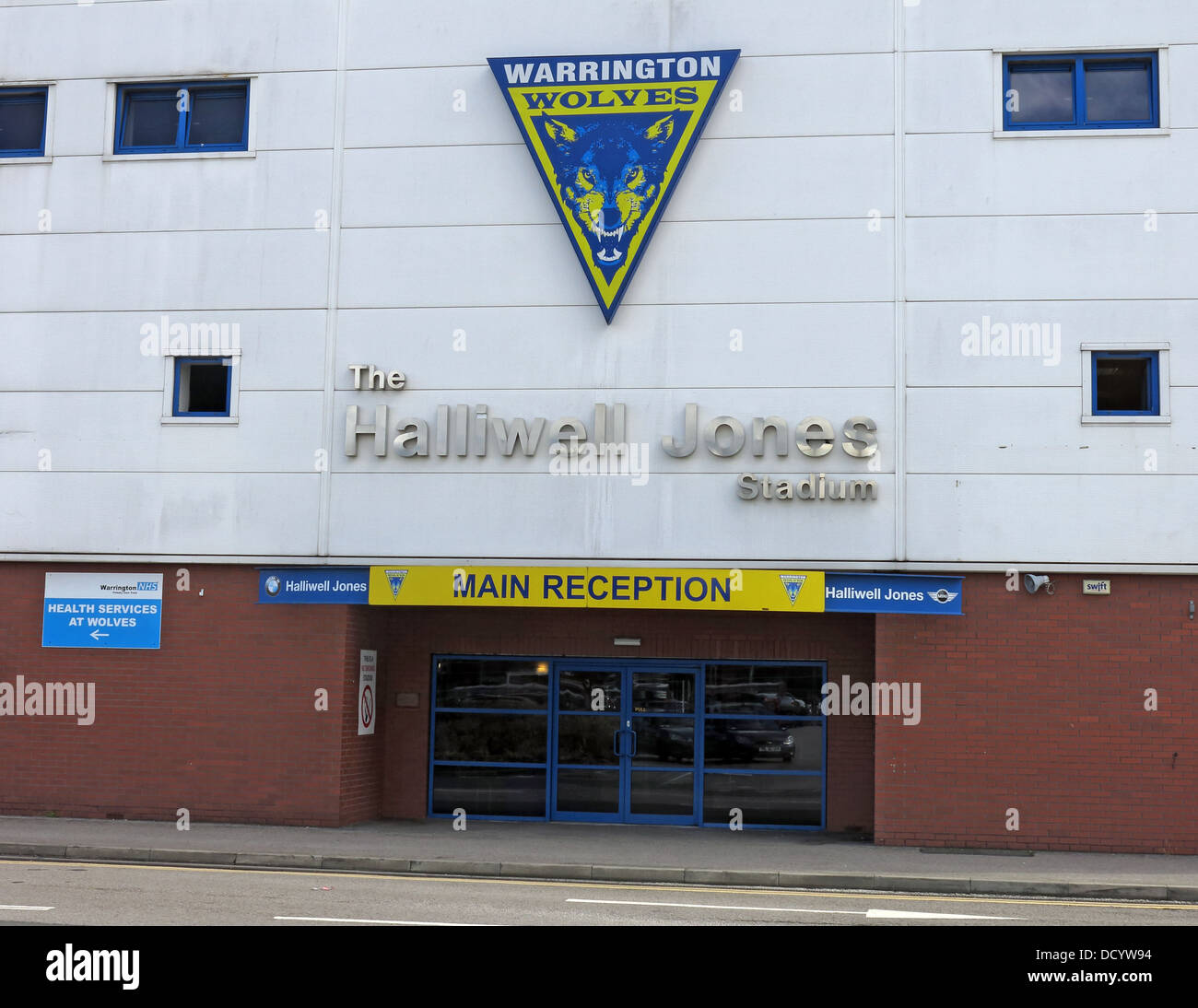 Reception wire wires football RL WLFC main office at Warrington Wolves Rugby Stadium, Cheshire England UK - Stock Image