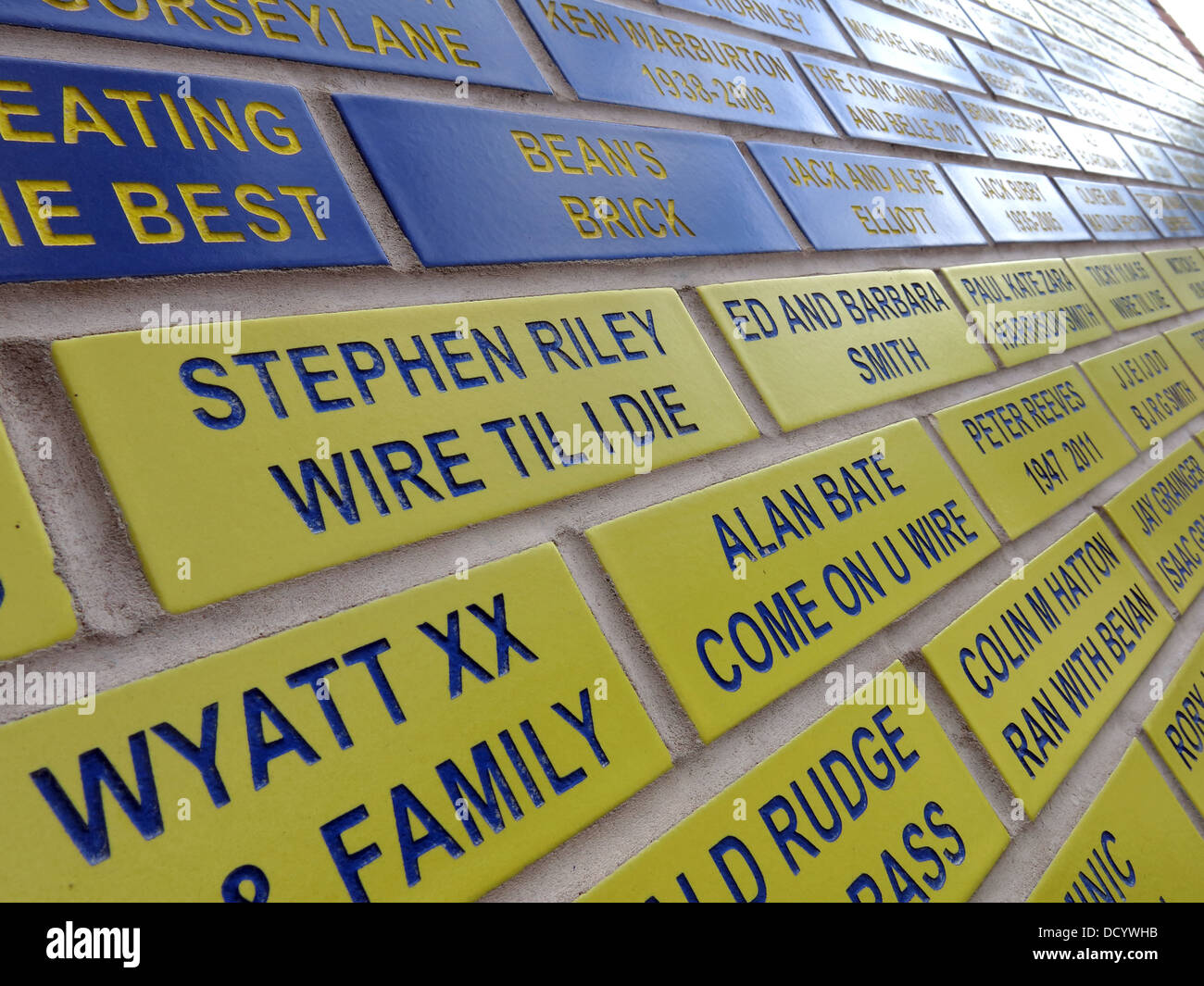 Bricks making up face of Brian Bevan from fans at Warrington Wolves Rugby Stadium, Cheshire England UK - Stock Image