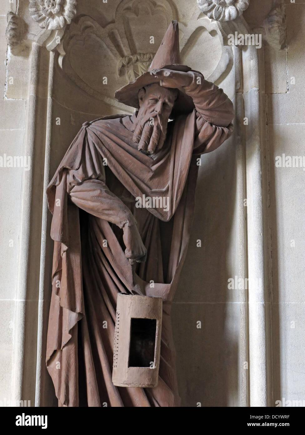 An iron statue of a wizard at Waddesdon Manor NT, Bucks, England, UK - Stock Image
