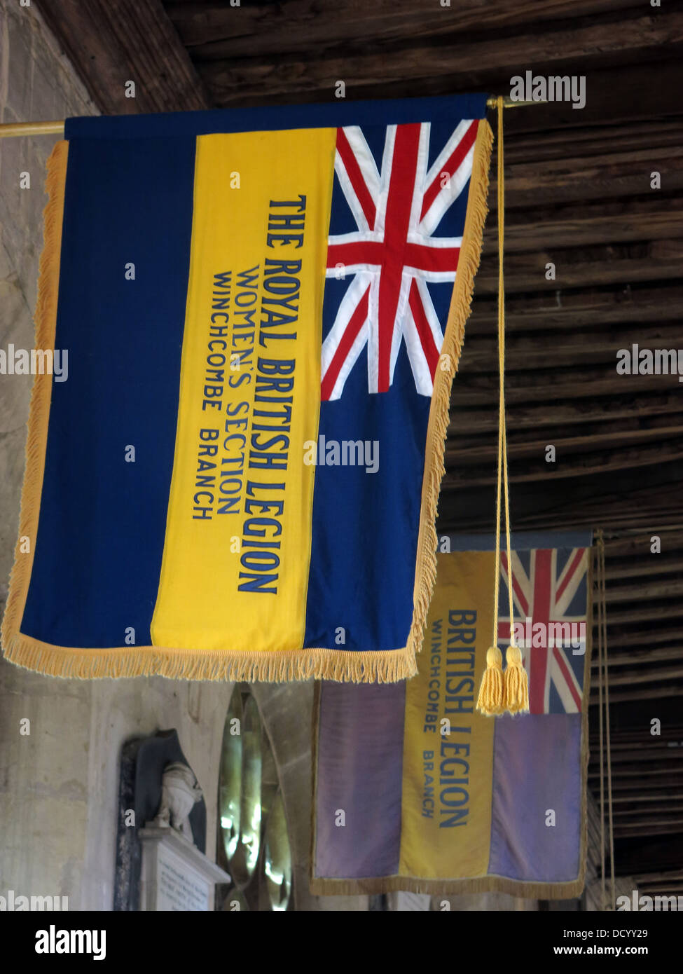 Flag of the Royal British Legion, Womans Section, Winchcombe Branch, St Peters Church, Cheltenham, Gloucester, England, Stock Photo