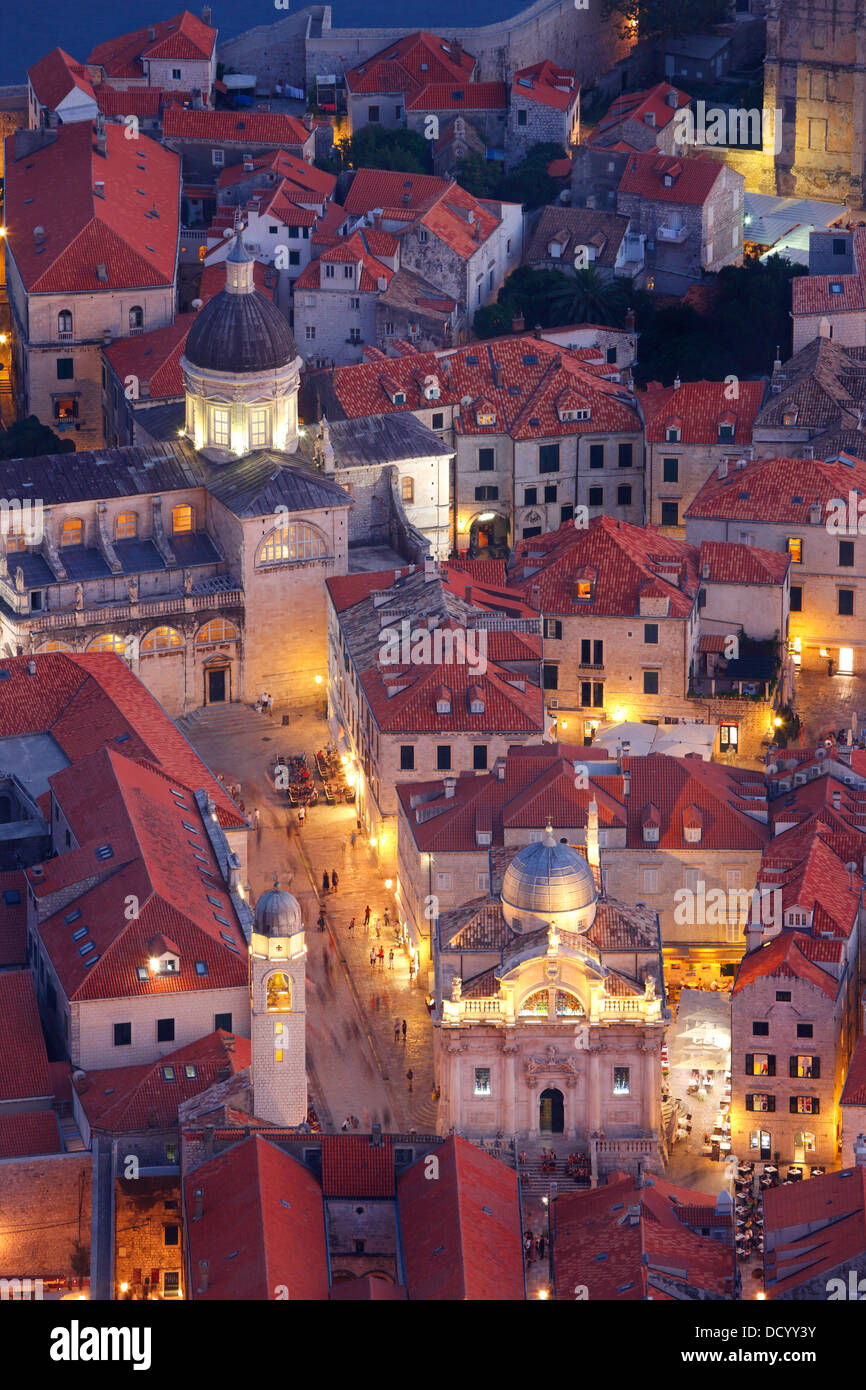 Dubrovnik Croatia. Luza square and Cathedral of the Assumption of the Virgin Mary (down right) - Stock Image
