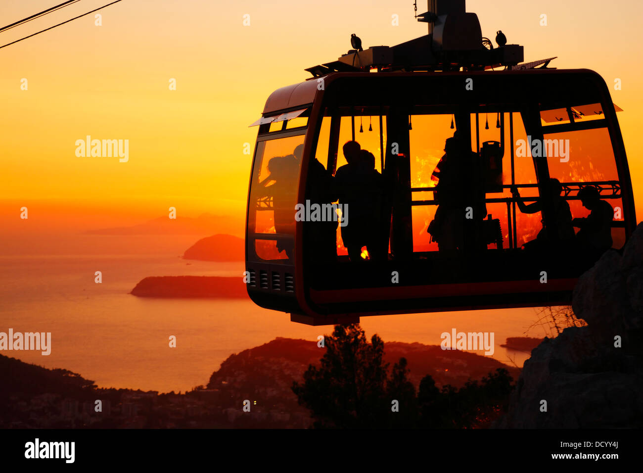 Dubrovnik Croatia. Cable car at sunset. - Stock Image