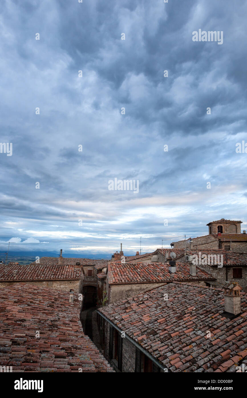 Terrace View Over Red Tiled Rooftops To Tiber Valley And