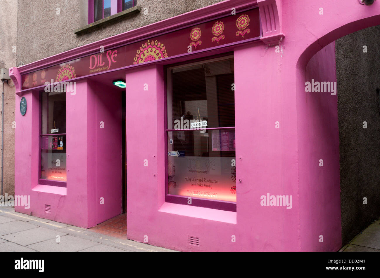 The Dil Se Indian Restaurant in Kirkwall. Stock Photo