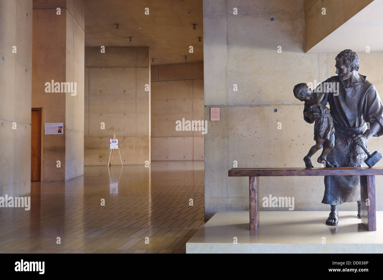 Sculpture dedicated to promoting adoption at the Our Lady of the Angels Cathedral - Stock Image