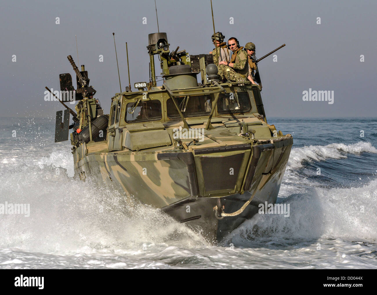 A US Navy Riverine Command Boat patrols during exercise Spartan Kopis August 12, 2013 off the coast of Bahrain. - Stock Image