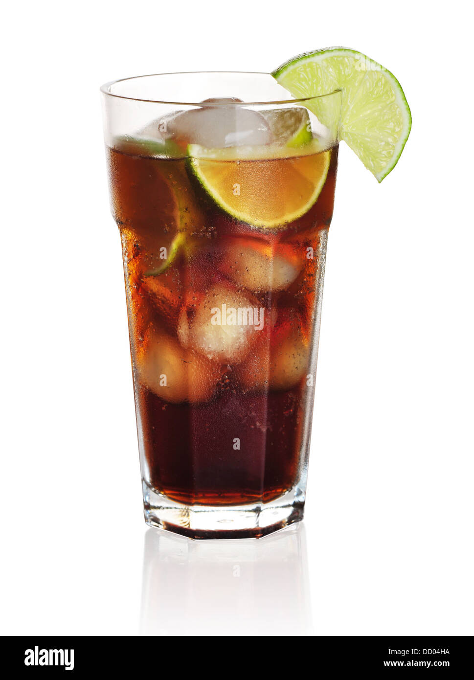 Cuba libre cocktail isolation on a white background - Stock Image