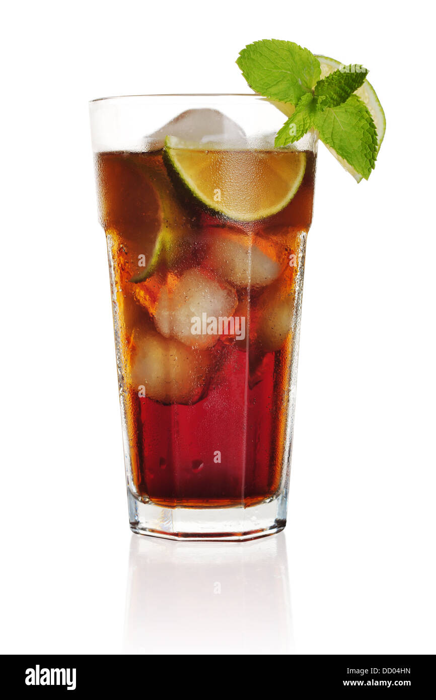 Long Island Iced Tea long drink isolated on white background - Stock Image