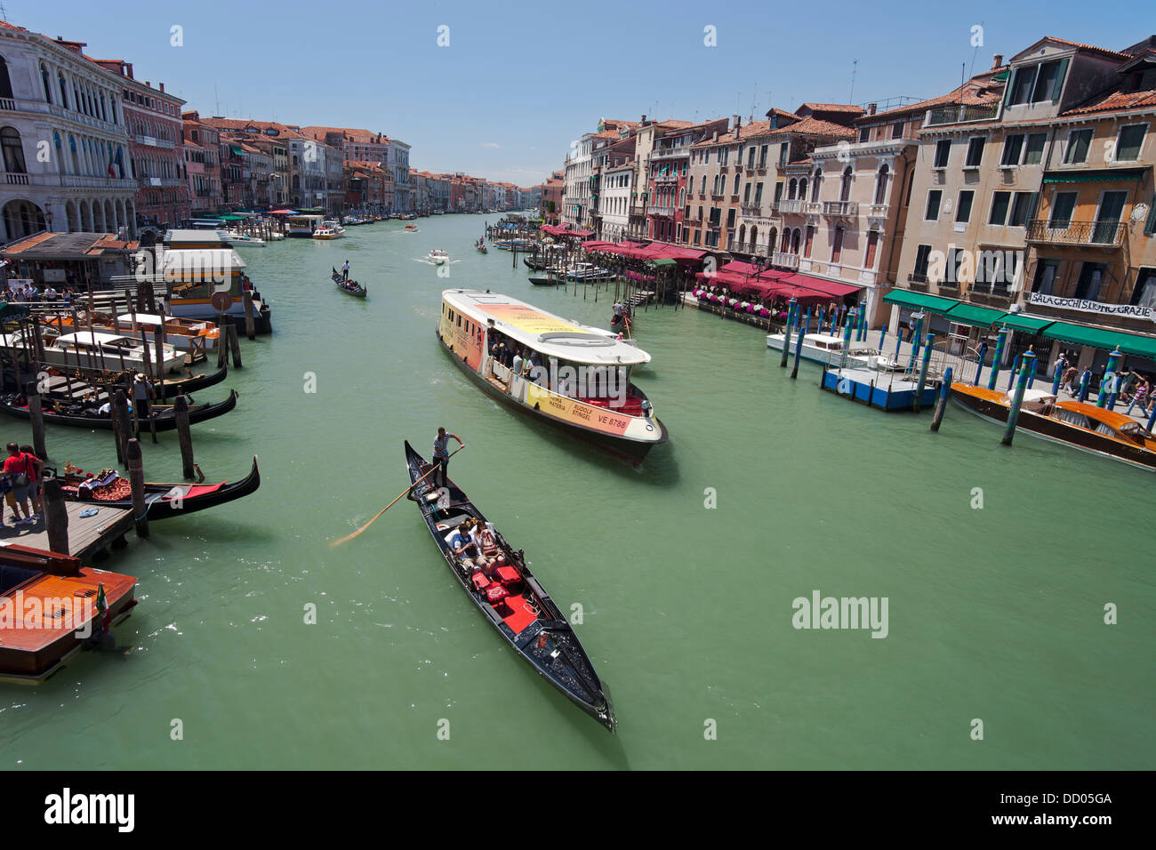 Grand Canal (Canale Grande) seen from The Rialto Bridge (Ponte di Rialto), Venice, Italy - Stock Image
