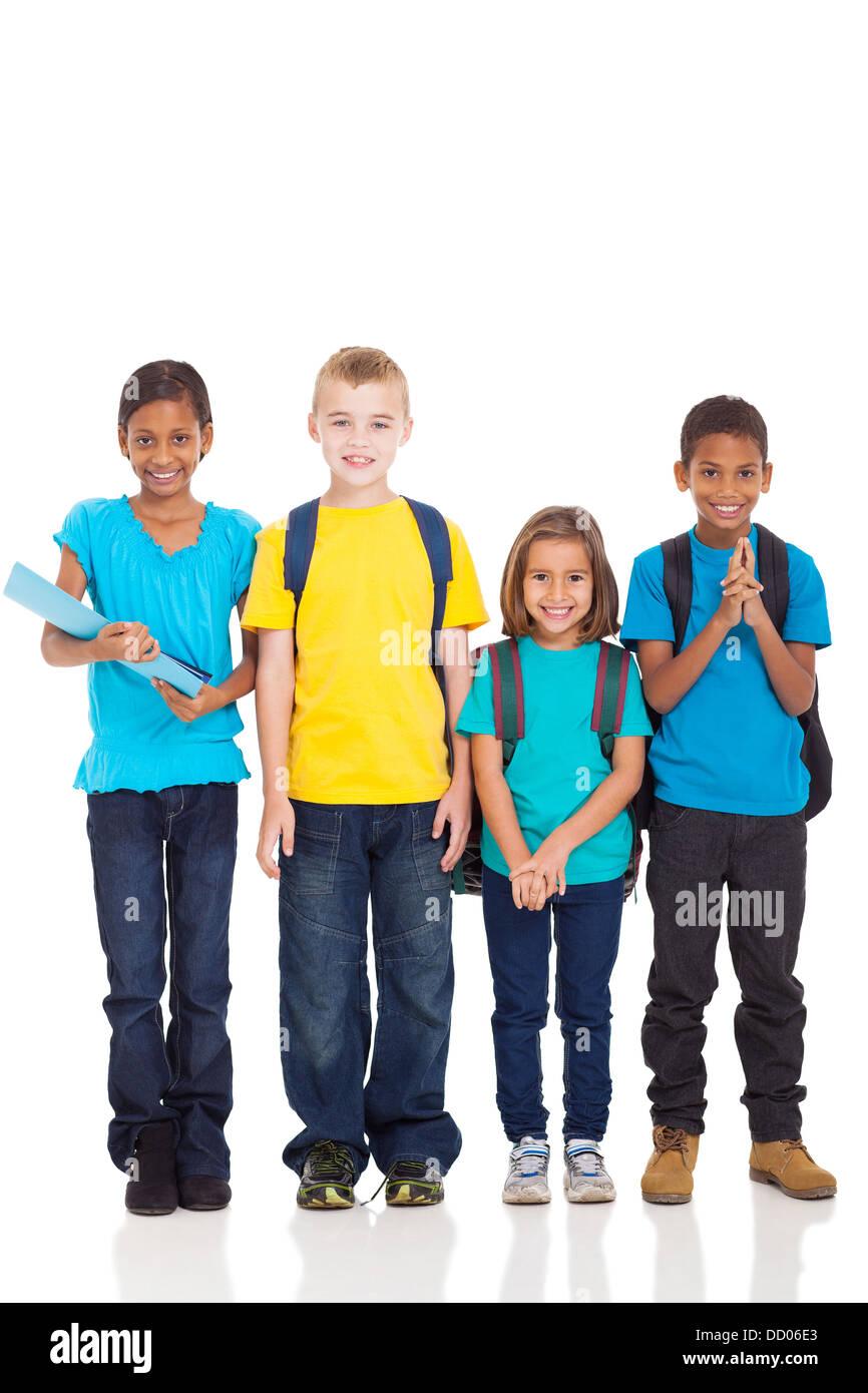 portrait of smiling school children standing on white background - Stock Image