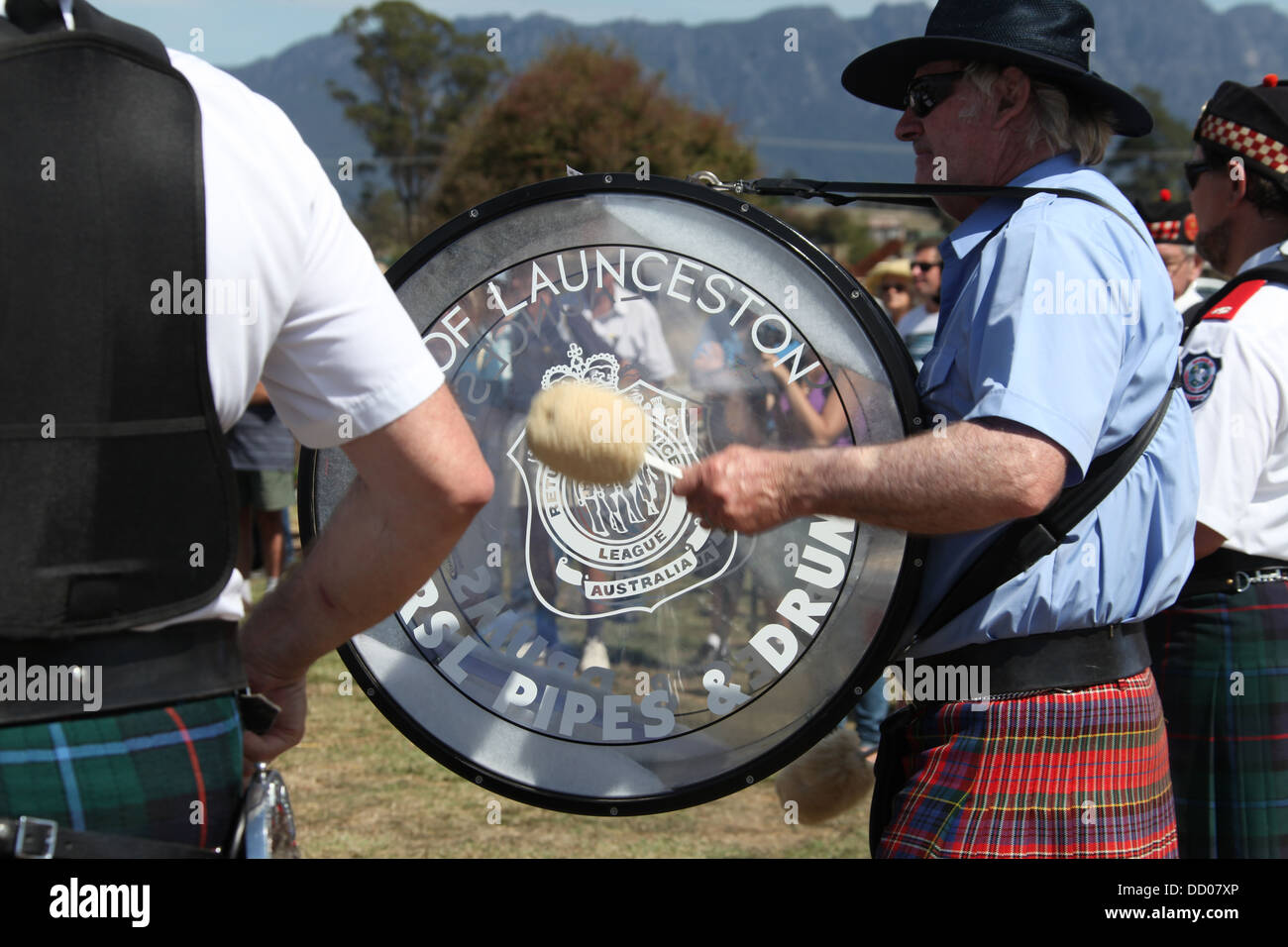 City of Launceston RSL Pipes and Drums Band playing at the annual rural show in Sheffield - Stock Image