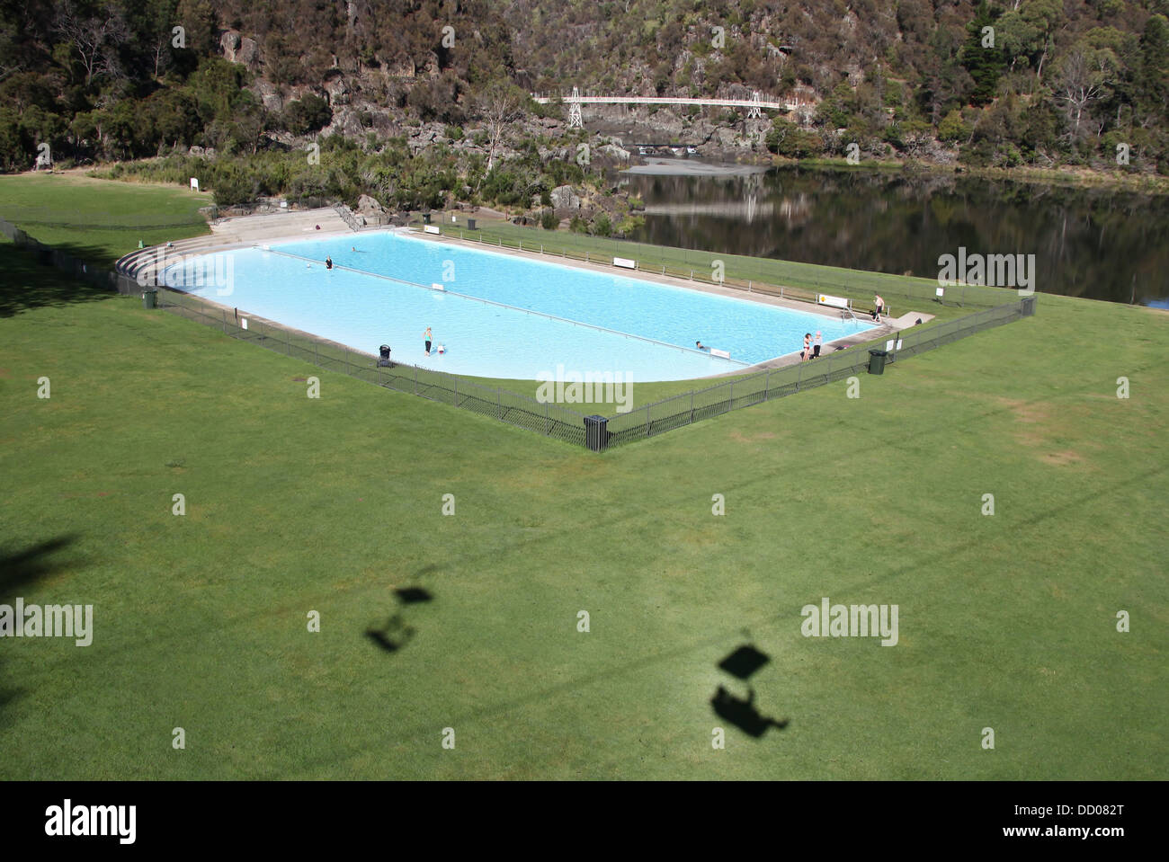 view from the chairlift of the first basin with the swimming pool