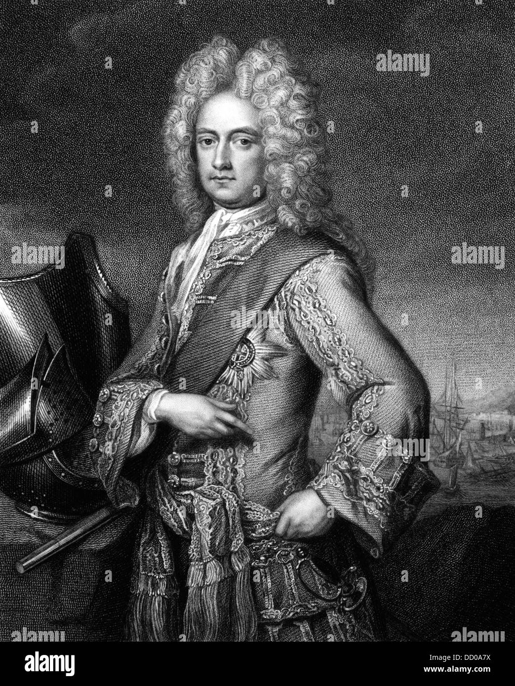 Charles Mordaunt, 3rd Earl of Peterborough (1658-1735) on engraving from 1830. English nobleman and military leader. Stock Photo