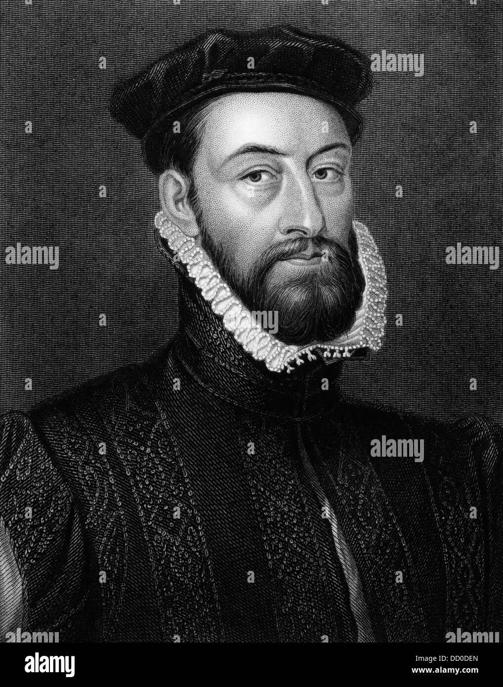 James Stewart, 1st Earl of Moray (1531-1570) on engraving from 1829. Stock Photo