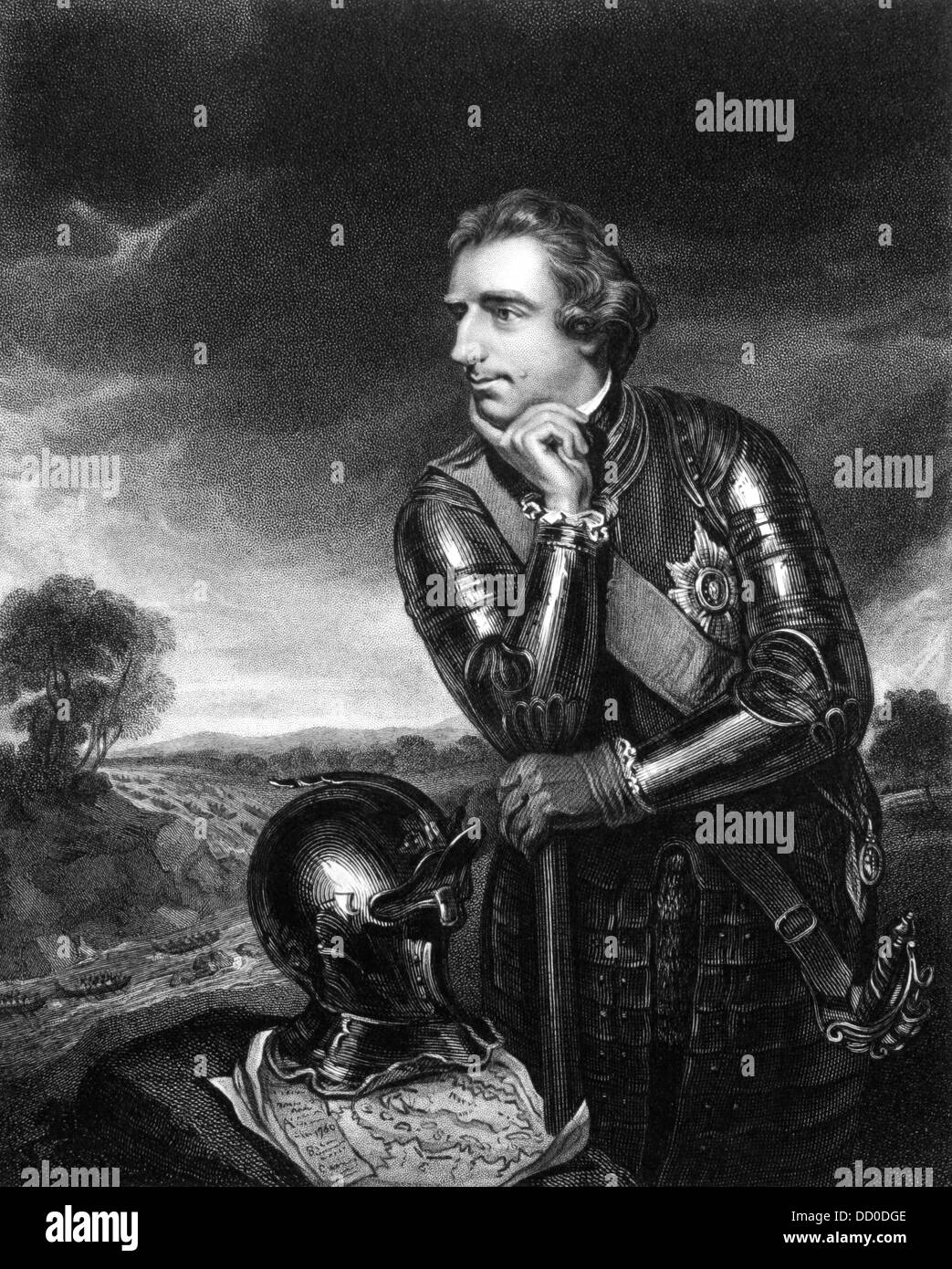 Jeffery Amherst, 1st Baron Amherst (1717-1797) on engraving from 1834. Served as an officer in the British Army. Stock Photo