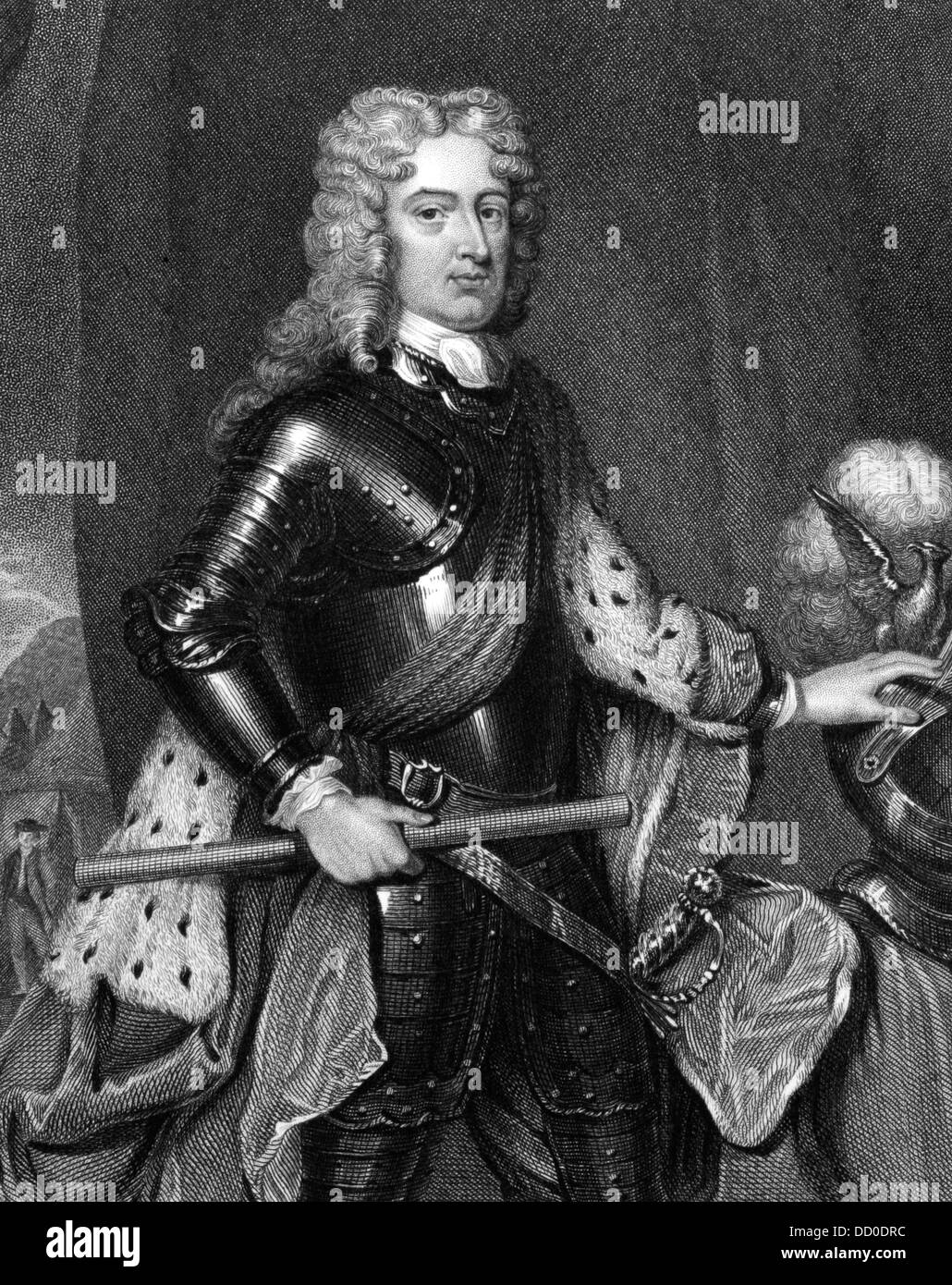 John Churchill, 1st Duke of Marlborough (1650-1722) on engraving from 1830. Prominent English soldier and statesman. - Stock Image