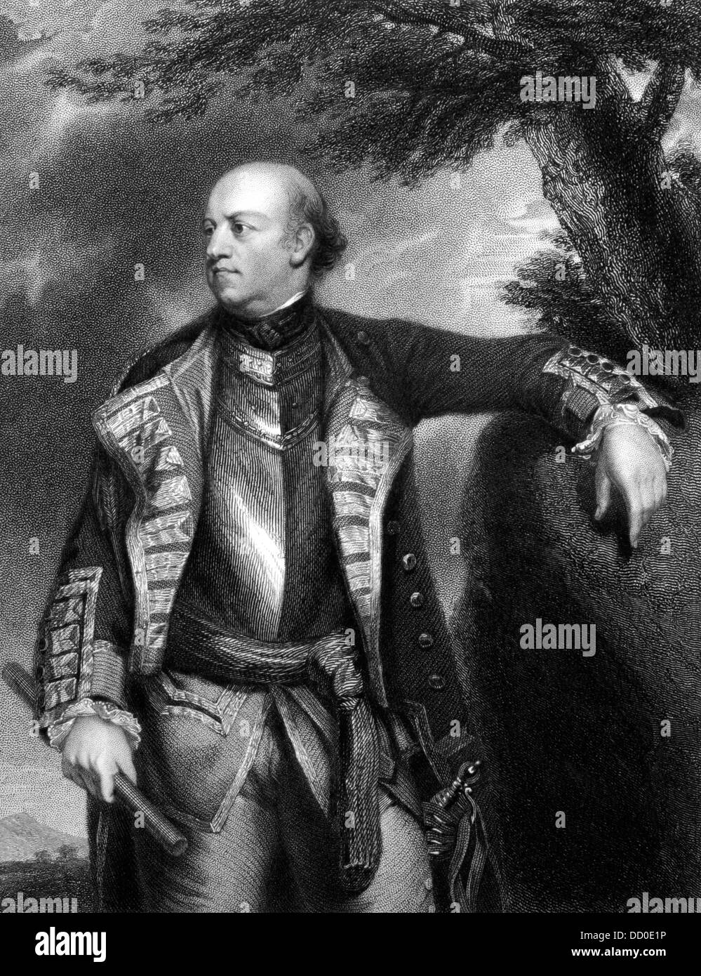 John Manners, Marquis of Granby (1721-1770) on engraving from 1832.  British soldier. Stock Photo