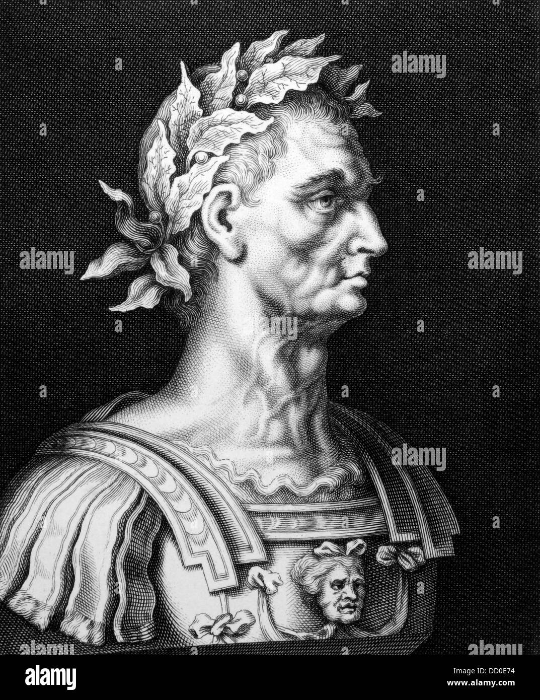 Julius Caesar (100BC-44BC) on engraving from 1860.  Roman general, statesman, Consul and notable author of Latin - Stock Image