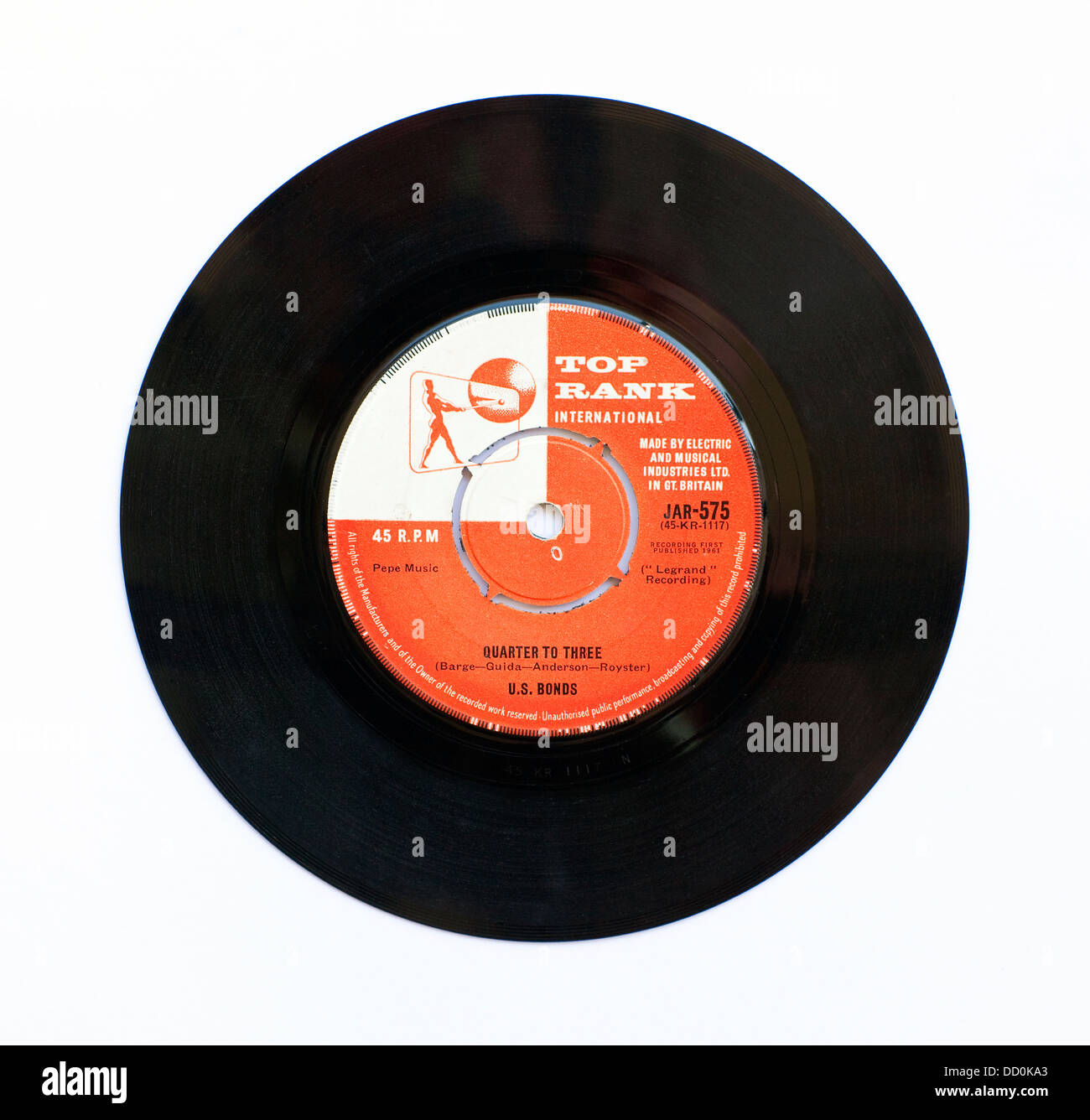 US Bonds - Quarter To Three, 1961, 7' single on Top Rank International - Stock Image