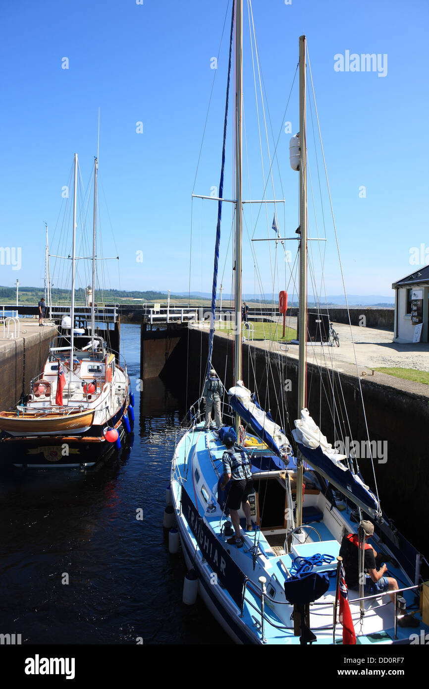 Yachts in the lock at Ardrishaig as the lock gates open to Loch Fyne at the eastern end of the Crinan Canal - Stock Image