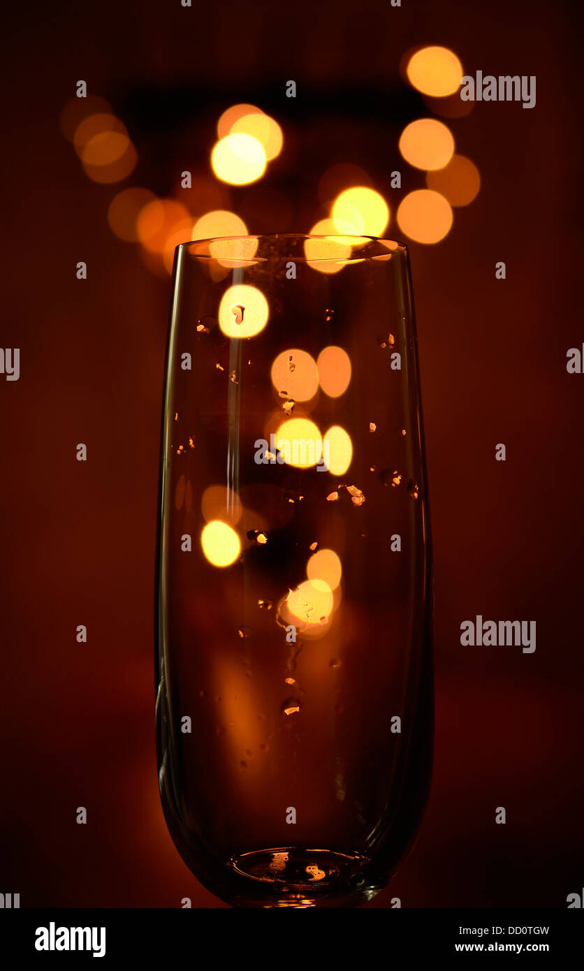 Sparkling wine with blurred lights Stock Photo