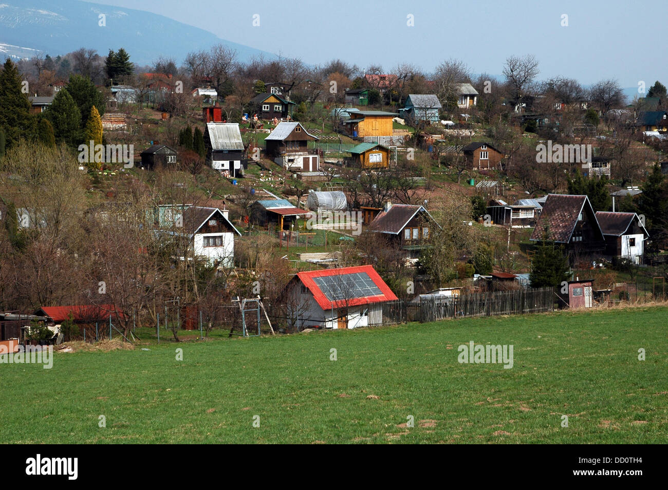 Rural village near Vrchlabi region Eastern Czech republic - Stock Image