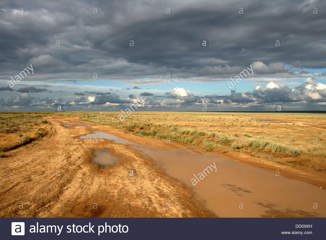 Kazakstan Ustyurt Plateau landscape - Stock Image