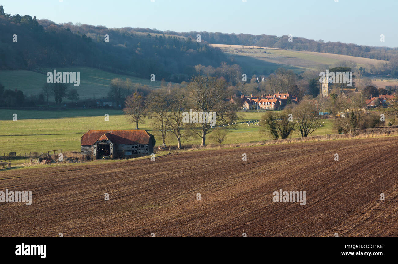 Old agricultural barn in the Hambleden Valley Buckinghamshire England UK - Stock Image