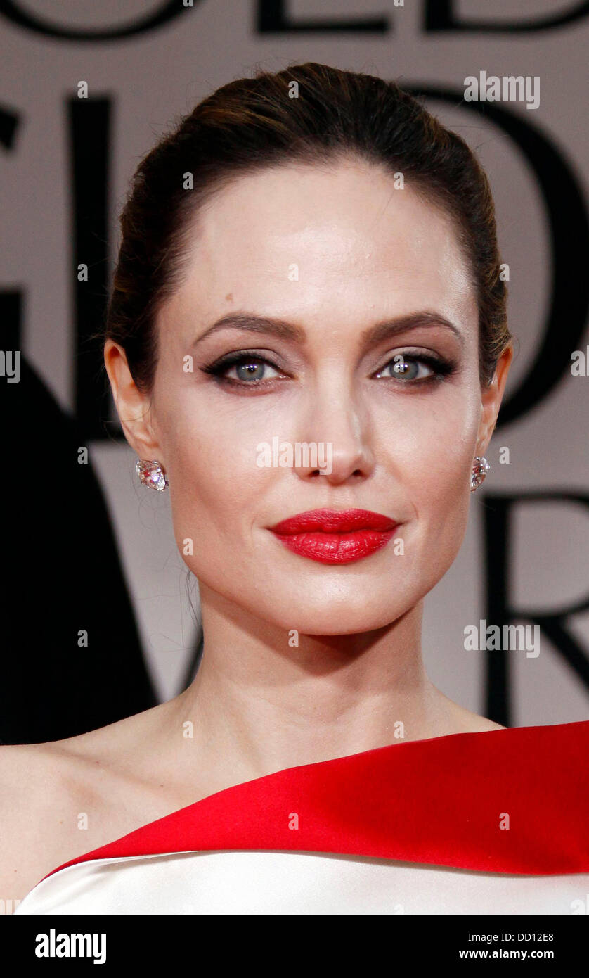 Angelina Jolie   The 69th Annual Golden Globe Awards (Golden Globes 2012) held at The Beverly Hilton Hotel - Outside - Stock Image